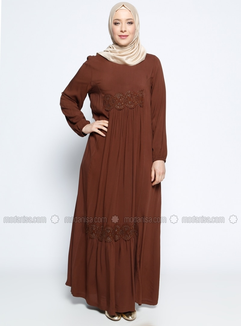 Neck Unlined Brown Plus Size Dress Ginezza