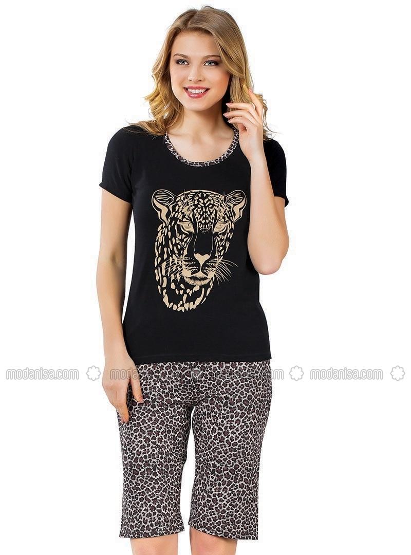 Black - Brown - Crew neck - Leopard - Pyjama