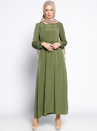 Beli Bağcıklı Elbise - Haki