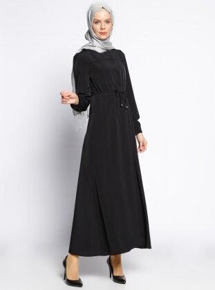 Beli Bağcıklı Elbise - Siyah