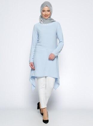 İnci Süslemeli Tunik - Mavi