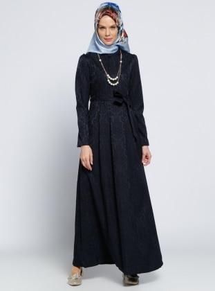 Kolyeli Elbise - Lacivert Zinet