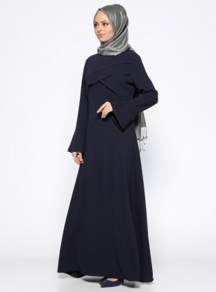 Volan Detaylı Elbise - Lacivert