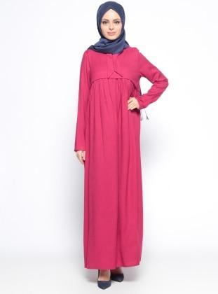 Keten Arkası Nakışlı Elbise - Fuşya