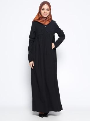 Keten Arkası Nakışlı Elbise - Siyah