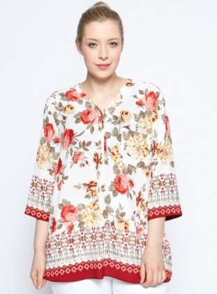 Çiçekli Bluz - Ekru Bordo