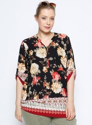 Çiçekli Bluz - Siyah Bordo