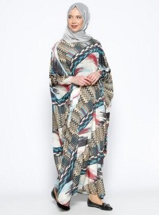 Desenli Salaş Elbise - Bej Kahve