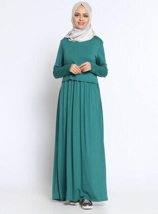 Düz Renk Elbise - Yeşil