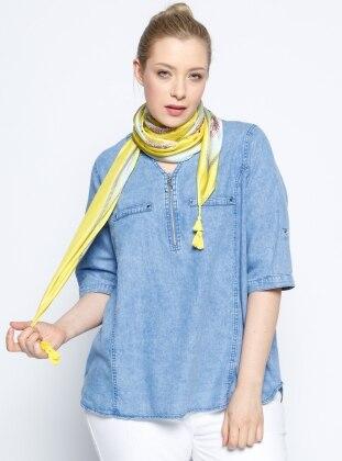 Fermuar Detaylı Kot Bluz - Mavi