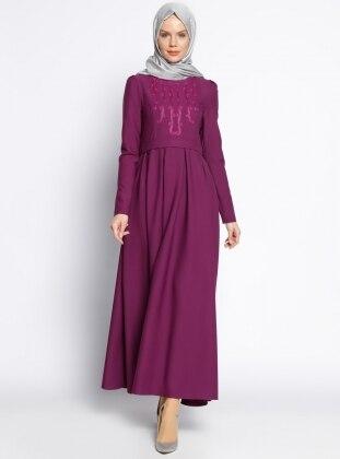 İnci Detaylı Elbise - Mürdüm