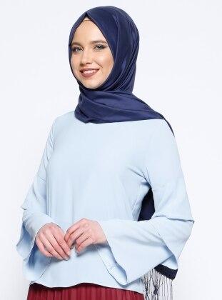 Kolları Volanlı Bluz - Mavi