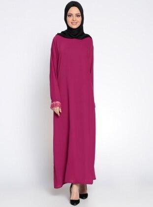 Kolu Dantel Detaylı Elbise - Fuşya
