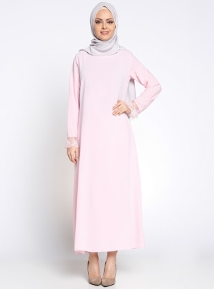 Kolu Dantel Detaylı Elbise - Pembe