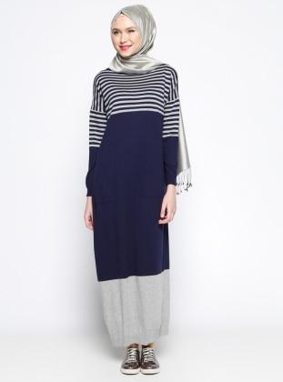 Zentoni Mevsimlik Elbise- Gri Lacivert