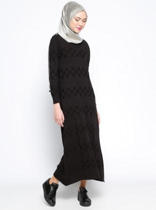 Mevsimlik Elbise - Siyah Zentoni