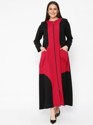Navy Blue - Pink - Crew neck - Unlined - Plus Size Abaya