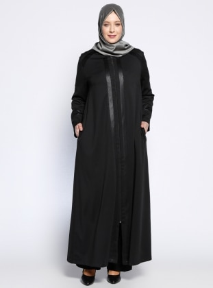 Fermuarlı Ferace - Siyah NAKŞİN