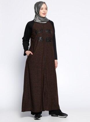 Fermuarlı Ferace - Siyah Hardal