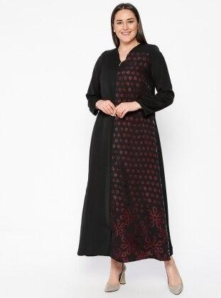 Black - Purple - Polka Dot - V neck Collar - Unlined - Plus Size Abaya