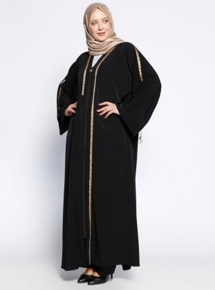 Fermuarlı Ferace - Siyah Taba
