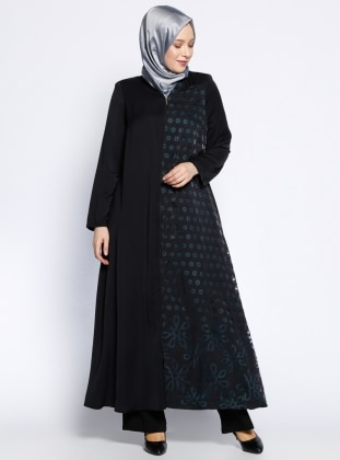 Fermuarlı Ferace - Siyah Yeşil