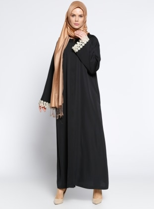 Gizli Düğmeli Abaya - Siyah