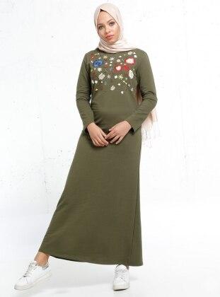 Nakışlı Elbise - Haki