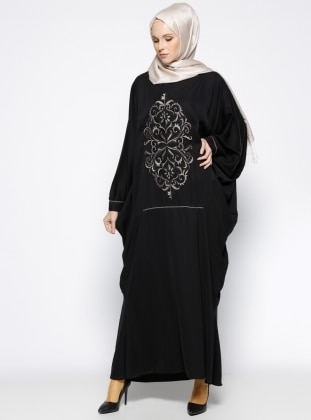 Nakışlı Abaya - Siyah