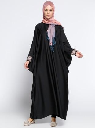 Vivezza Yarasa Kollu Abaya - Siyah