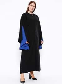 Black - Saxe - Crew neck - Unlined - Plus Size Abaya