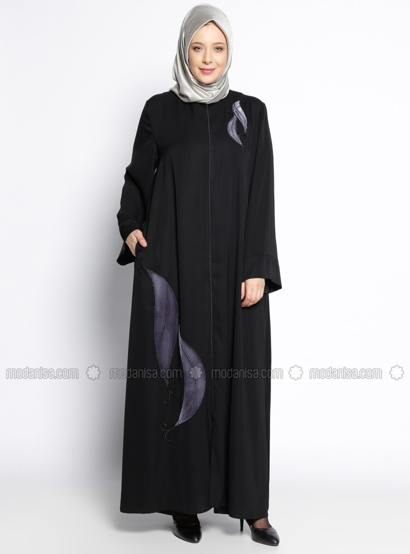Black - Multi - Crew neck - Unlined - Plus Size Abaya
