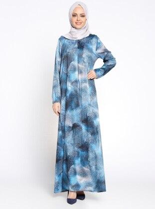 Desenli Elbise - Mavi