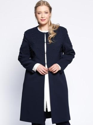 İnci Detaylı Uzun Ceket - Lacivert - he&de