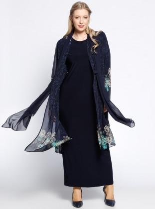 Şifon Hırka&Elbise İkili Takım - Lacivert - he&de
