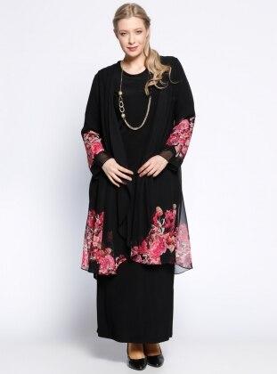 Şifon Hırka&Elbise İkili Takım - Pembe Siyah - he&de