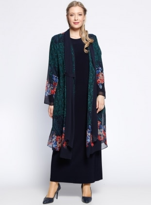 He & De Şifon Hırka&Elbise İkili Takım - Yeşil Lacivert - he&de
