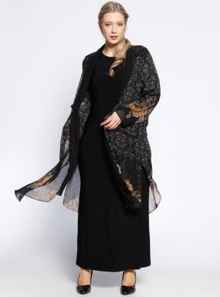 Şifon Hırka&Elbise İkili Takım - Hardal Siyah - he&de