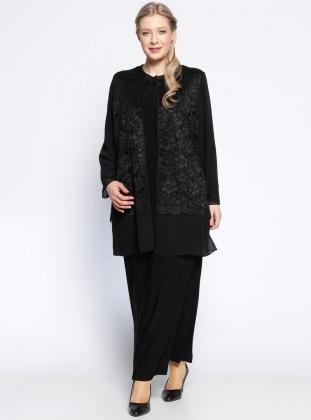 Şifon Hırka&Elbise İkili Takım - Siyah - he&de