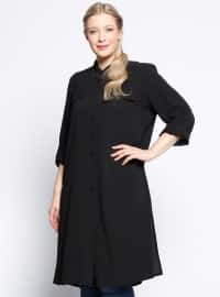 Black - Point Collar - Plus Size Tunic