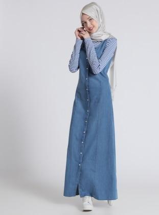 Naturel Kumaşlı Kolsuz Kot Elbise - Mavi