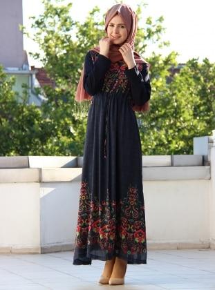 Rotasyon Baskılı Penak Elbise - Lacivert
