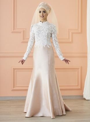 Aymira Abiye Elbise - Ekru Pudra