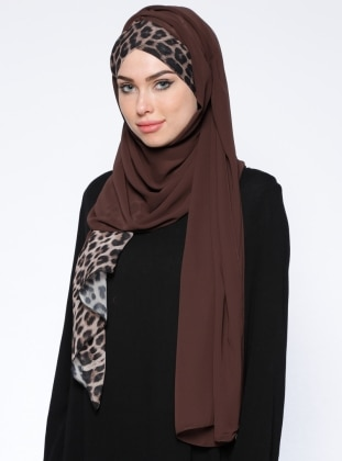 Brown - Leopard - Plain - Pinless - Shawl - DIFFERENZA