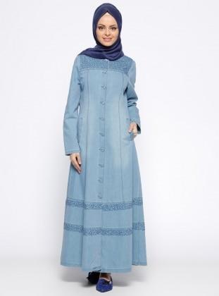 Düğmeli Kot Pardesü - Mavi