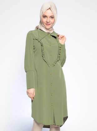 Düğmeli Tunik - Yağ Yeşili