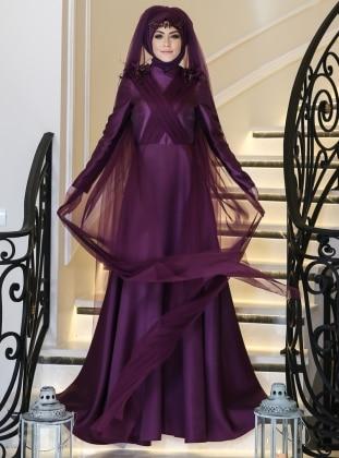 Elegance Abiye Elbise - Mor