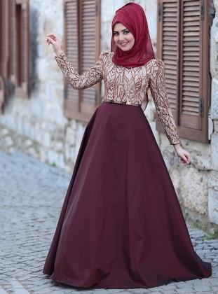 Esra Abiye Elbise - Bordo Gold