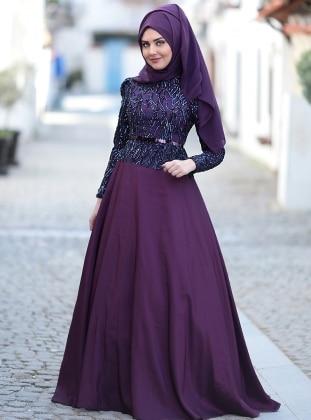 Esra Abiye Elbise - Mor