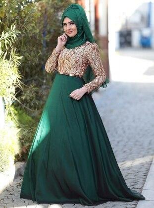 Esra Abiye Elbise - Zümrüt Yeşili SomFashion